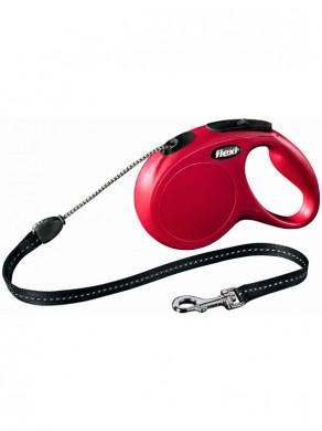 Рулетка Flexi New Classic М трос красная (длина 5м, нагрузка на 20кг)