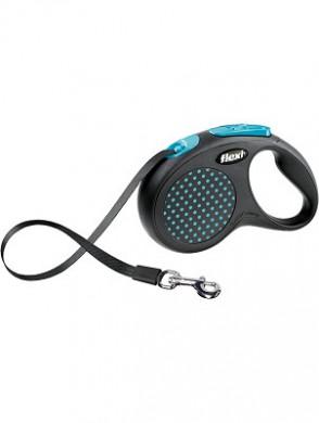 Рулетка Flexi Design M-L лента, черная/голубой горошек (50кг*5м)