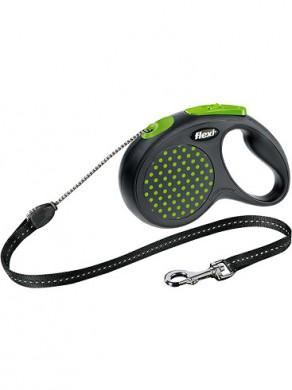 Рулетка flexi Design М трос черный/зеленый горох ( 20 кг*5 м)