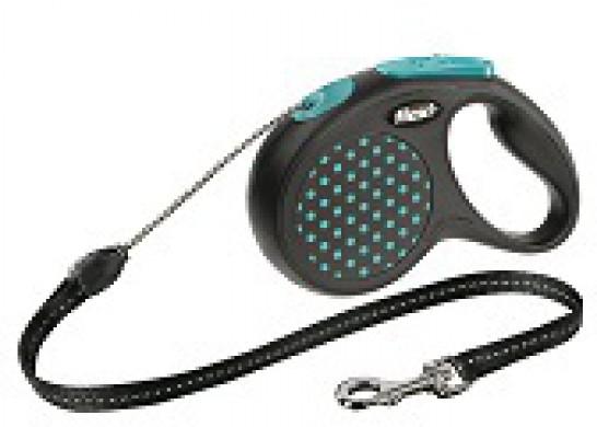 Рулетка Flexi Design XS трос, черная/голубой горошек (до 8 кг*3 м)