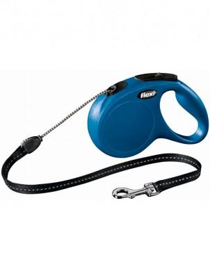 Рулетка Flexi New Classic М трос, синяя (длина 5м, нагрузка на 20кг)