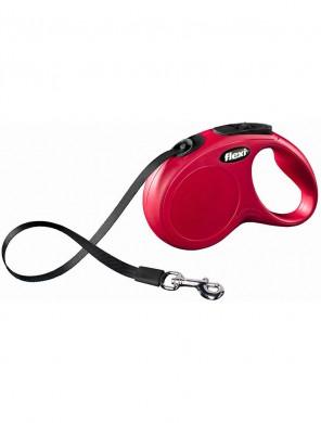 Рулетка Flexi New Classic XS ремень, красная (3м*12кг)