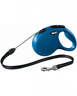 Рулетка Flexi New Classic S трос, синяя (12 кг*5 м)
