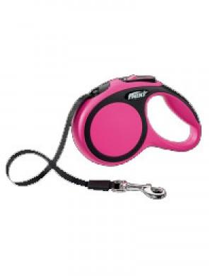 Рулетка Flexi New Comfort L лента, черный/розовый (8 м до 50 кг)