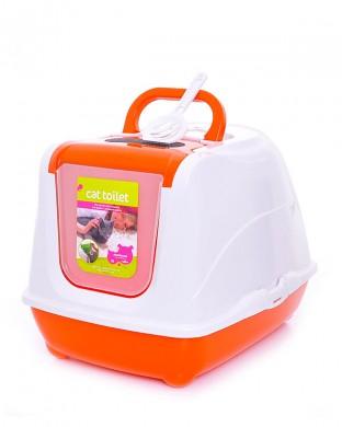 Туалет-домик Jumbo с угольным фильтром, оранжевый (57х44х41см)