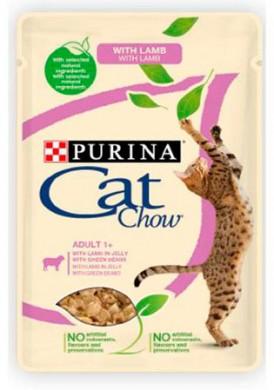 Влажный корм CAT CHOW для кошек ягненок/зеленая фасоль в желе 85г