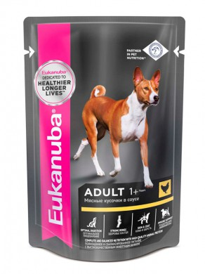 Влажный корм Еukanuba Dog Adult для взрослых собак с курицей в соусе 100гр