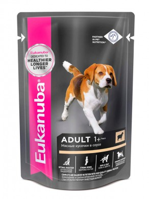 Влажный корм Еukanuba Dog Adult для взрослых собак с ягненком в соусе 85гр