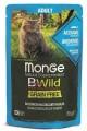 Влажный корм Monge Cat BWild GRAIN FREE  из анчоусов с овощами для взрослых кошек 85гр