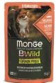Влажный корм Monge Cat BWild GRAIN FREE  из лосося с креветками и овощами для стерилизованных кошек 85г