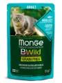 Влажный корм Monge Cat BWild GRAIN FREE из трески с креветками и овощами для взрослых кошек 85г
