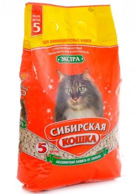 Впитывающий наполнитель Сибирская кошка Экстра для длинношерстных кошек 20л