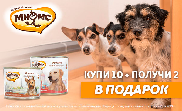 Акция! На консервы для собак Мнямс 10шт+2шт в подарок!