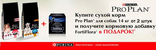 Кормовая добавка FortiFlora в подарок при покупке Pro Plan для собак!