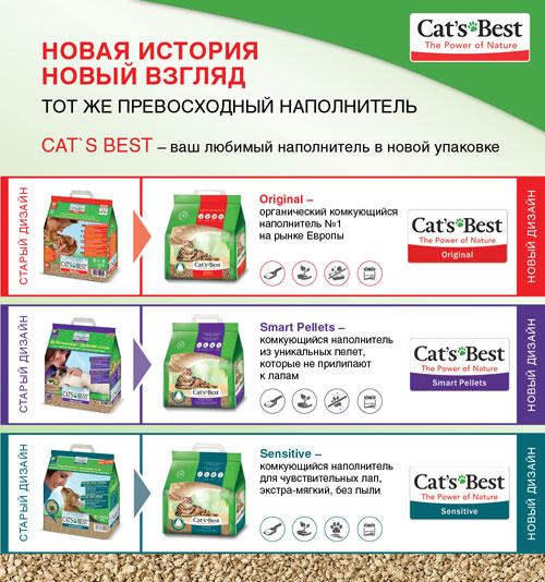 Наполнители  Cats Best в новой упаковке
