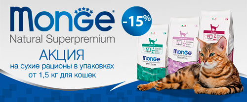 Скидка 15% на корма для кошек Monge Superpremium!