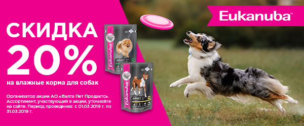 Скидка 20% на влажные корма для собак Eukanuba.