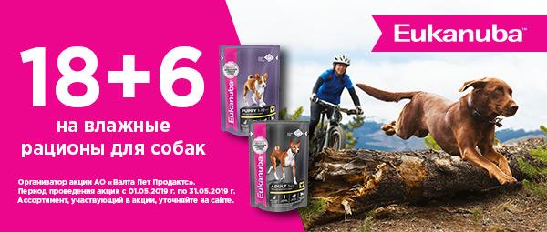 Акция 18+6 на влажные рационы для собак Eukanuba!